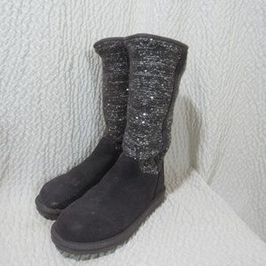 Ugg Boots 6 Gray 13 Tall Stretch Upper Silver Show